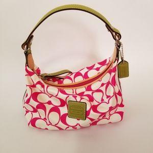Coach Makeup Bag Mini Purse Logo Satin Pink Green